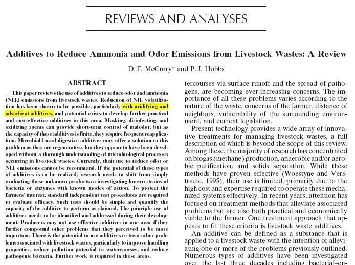 """Reducción de olores y volatilización de amonio mediante """"aditivos"""" en el almacenaje de estiércoles y derivados."""