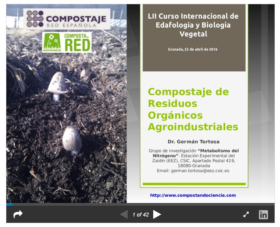 """Clase """"Compostaje de residuos agroindustriales"""" en el LIII Curso Internacional de Edafología y Biología Vegetal (Granada, 2016)"""