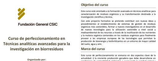 """Curso """"Técnicas analíticas avanzadas para la investigación en Biorresiduos"""" (23-28 de octubre de 2017)"""